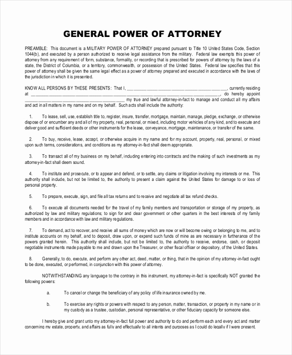 Power Of attorney Pdf Lovely Sample General Power Of attorney 11 Free Documents In
