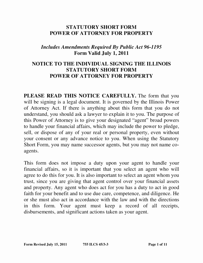 Power Of attorney Pdf New Free Illinois Power Of attorney forms Word