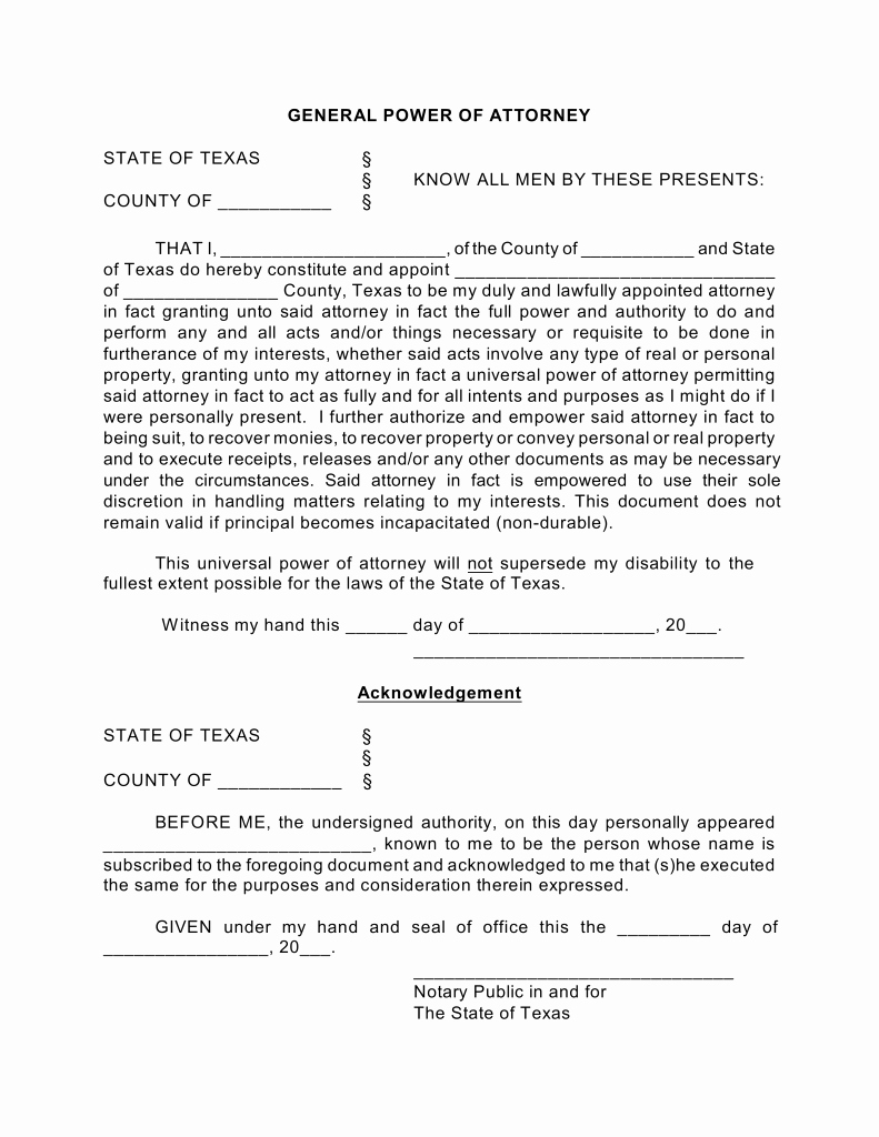 Power Of attorney Pdf New Free Texas General Financial Power Of attorney form