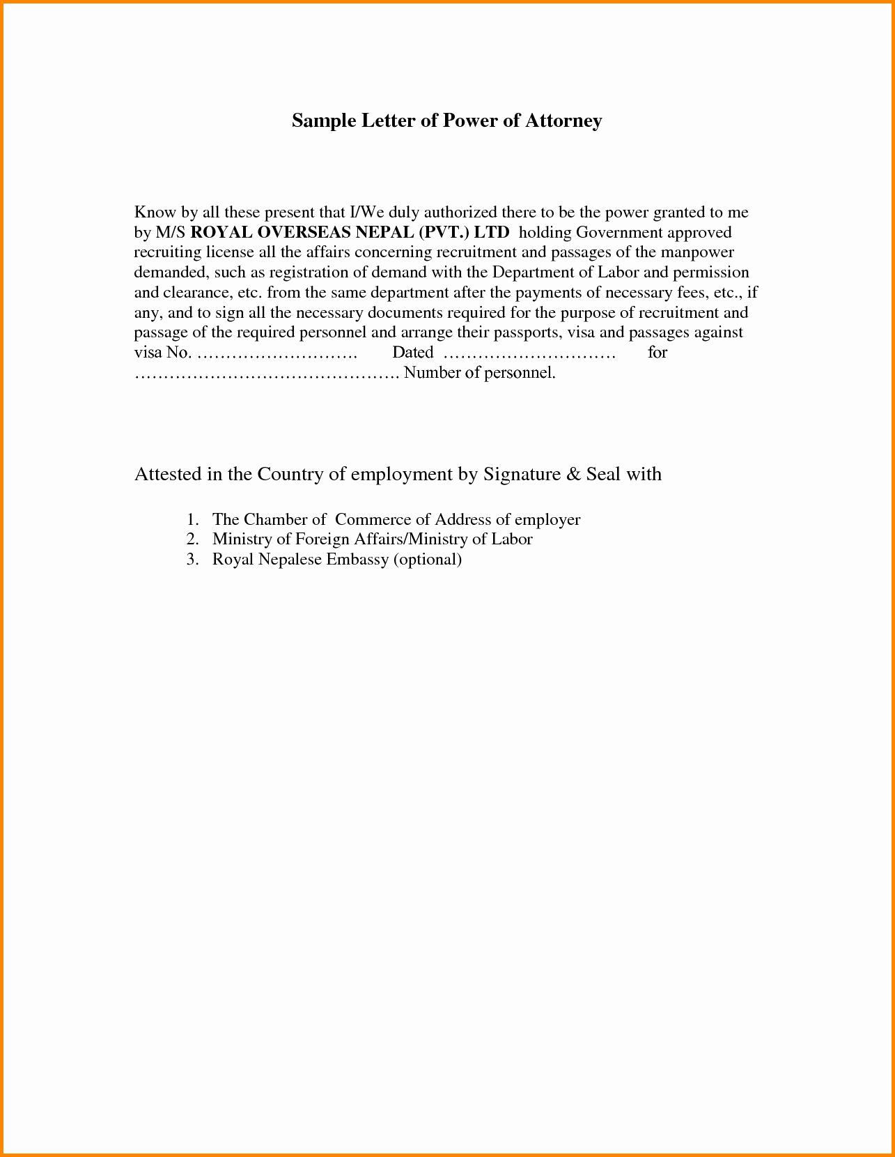 Power Of attorney Sample Letter Elegant Power attorney Resignation Letter Template Samples