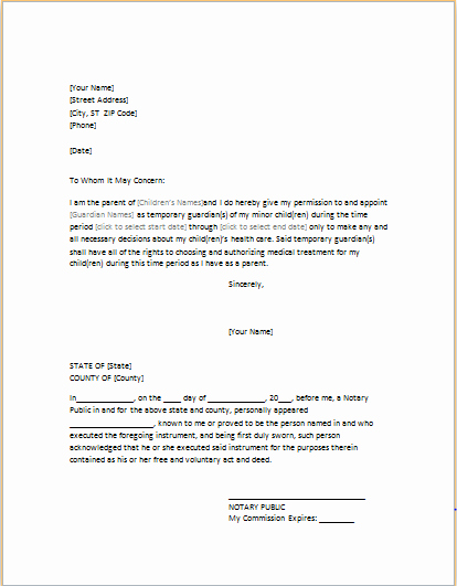 Power Of attorney Sample Letter Lovely Power Of attorney Letter for Child Care