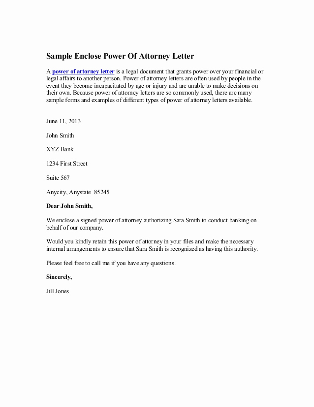 Power Of attorney Sample Letter Lovely Sample Enclose Power attorney Letter