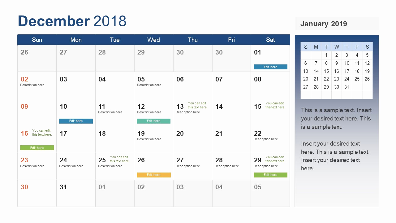 Power Point Calendar Templates Awesome Powerpoint Calendar Template Year 2018 Slidemodel
