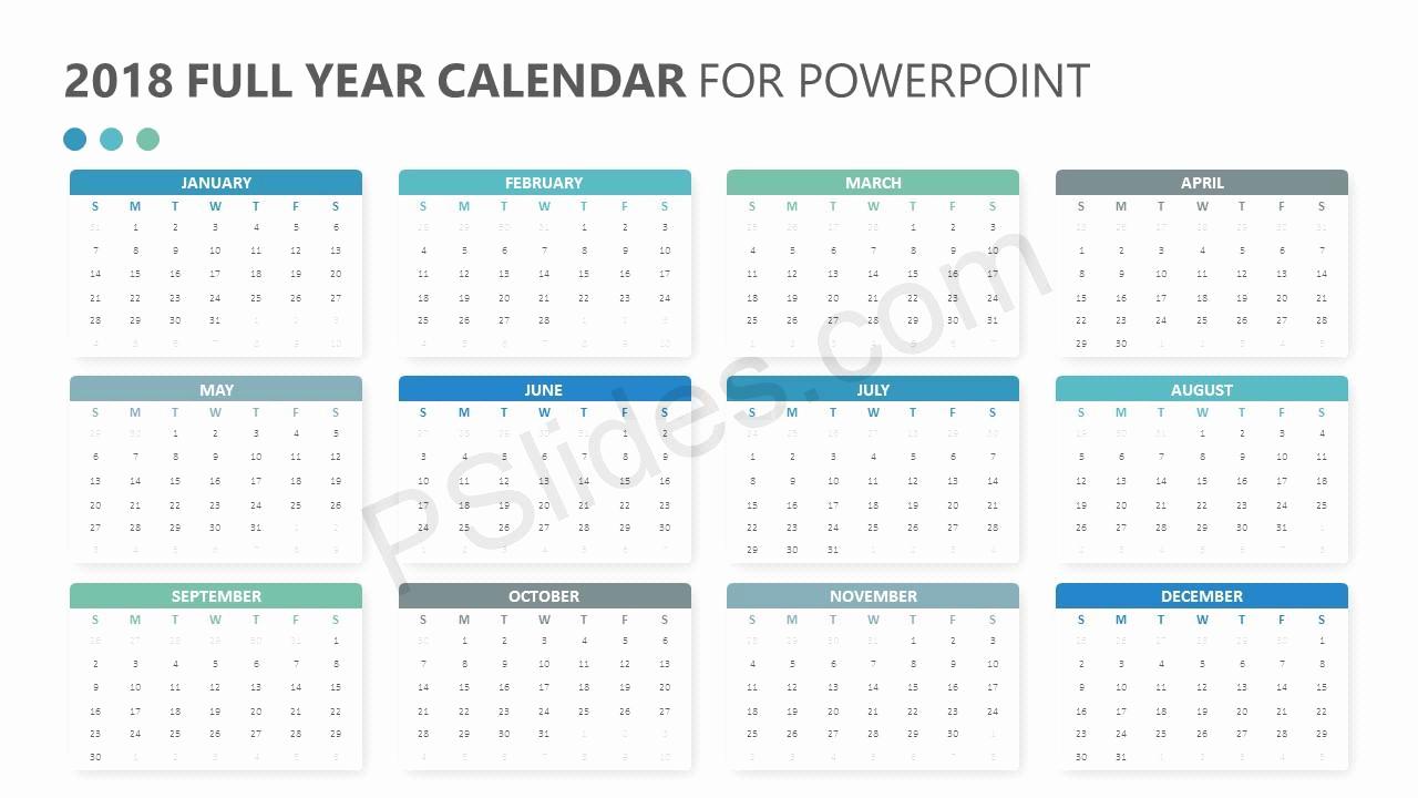 Power Point Calendar Templates Fresh 2018 Full Year Calendar for Powerpoint Pslides