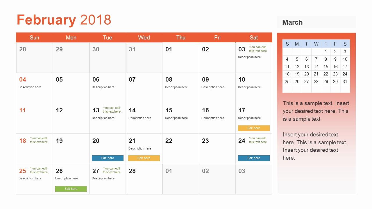 Power Point Calendar Templates Fresh Monthly Calendar for 2018 Ppt Slidemodel