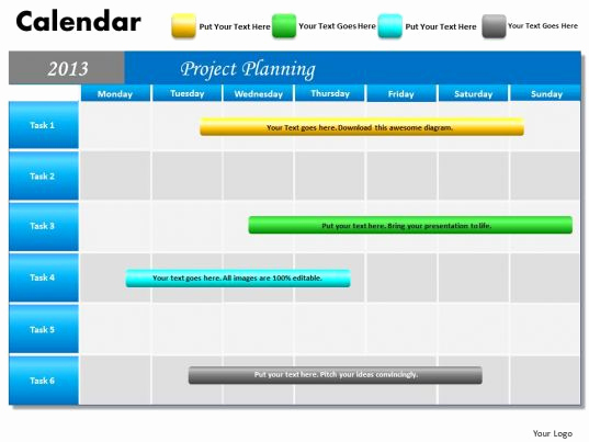 Power Point Calendar Templates Fresh Project Planning Gantt Chart 2013 Calendar Powerpoint