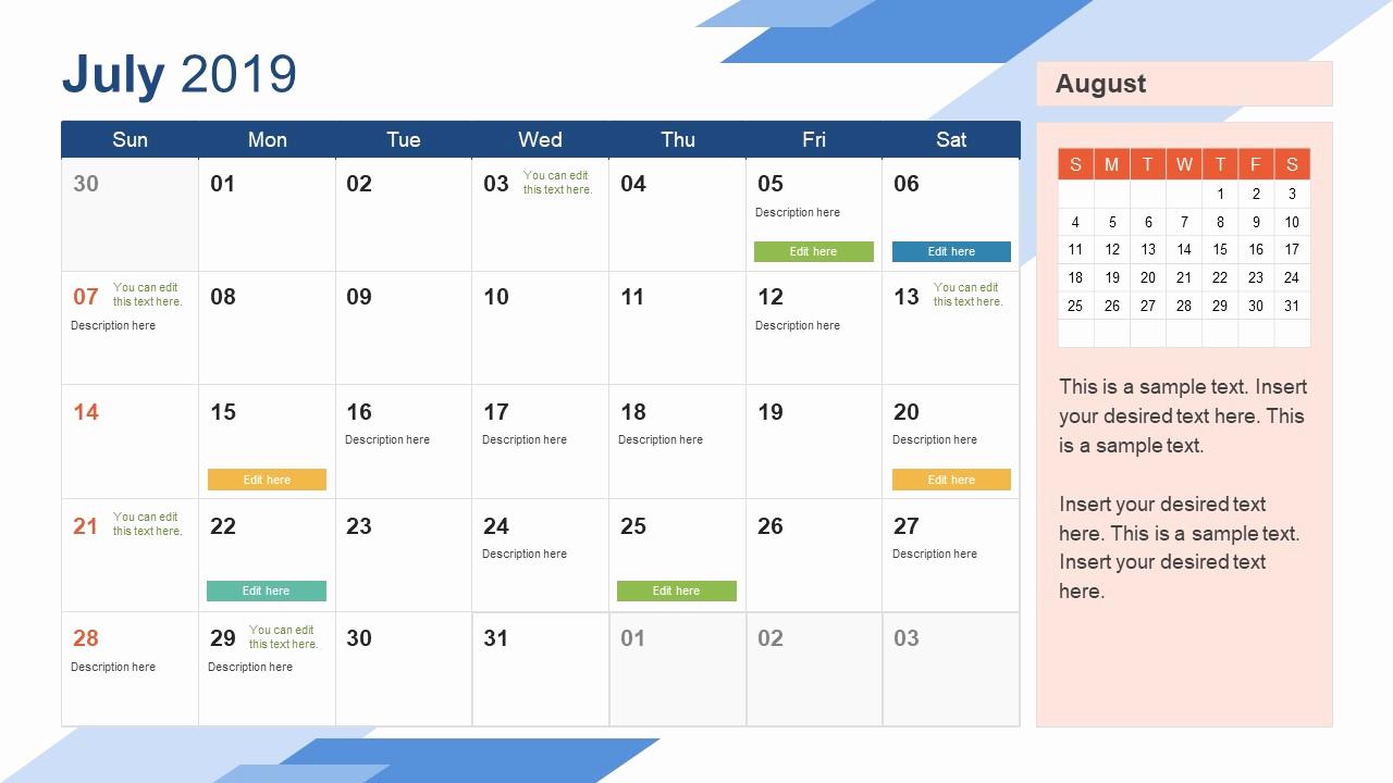 Power Point Calendar Templates Inspirational 2019 Calendar Powerpoint Template Slidemodel