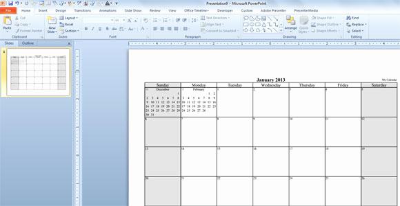 Power Point Calendar Templates Lovely Make Your Free Calendar 2013 Template In Powerpoint