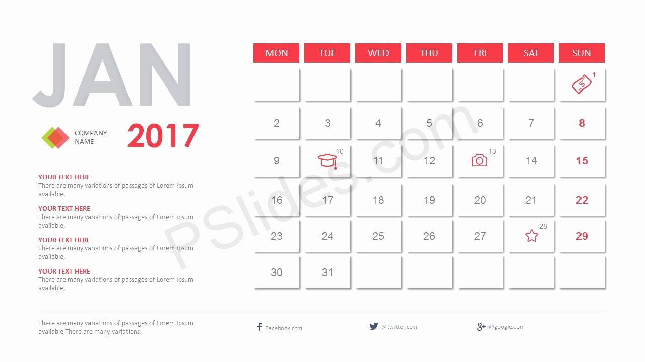 Power Point Calendar Templates Unique 2017 Calendar Powerpoint Template