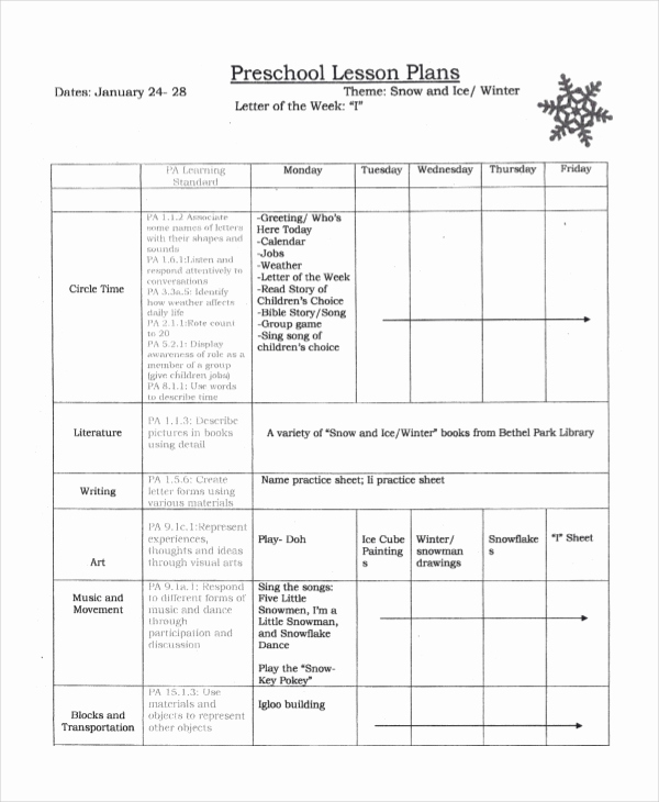 Pre K Lesson Plan Templates New Preschool Lesson Plan Template 10 Free Word Pdf Psd