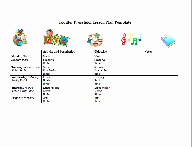 Pre Kindergarten Lesson Plan Template Elegant toddler Preschool Lesson Plan Template