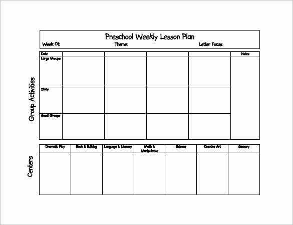 prek lesson plan templates