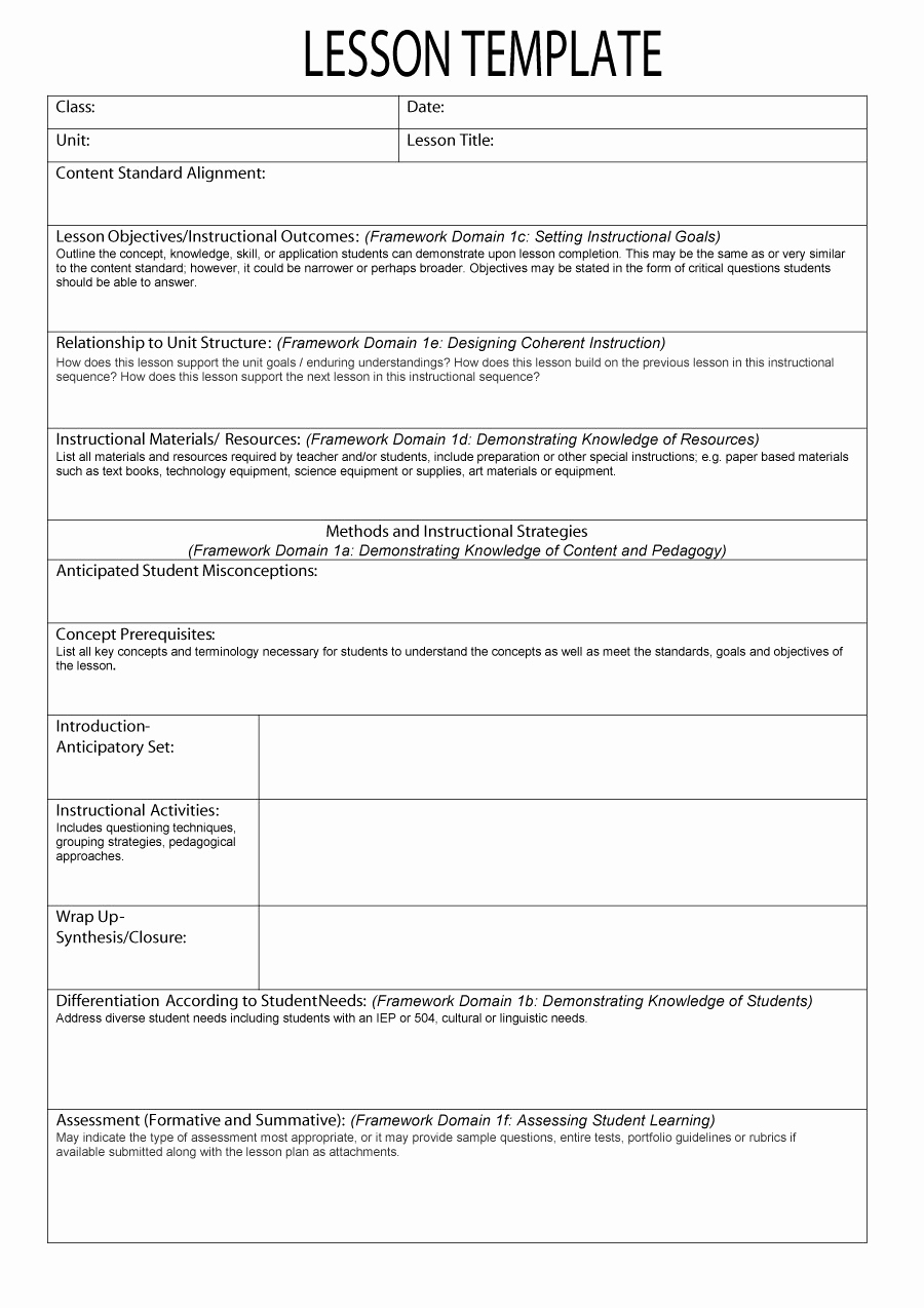 Pre Kindergarten Lesson Plan Template Inspirational 44 Free Lesson Plan Templates [ Mon Core Preschool Weekly]