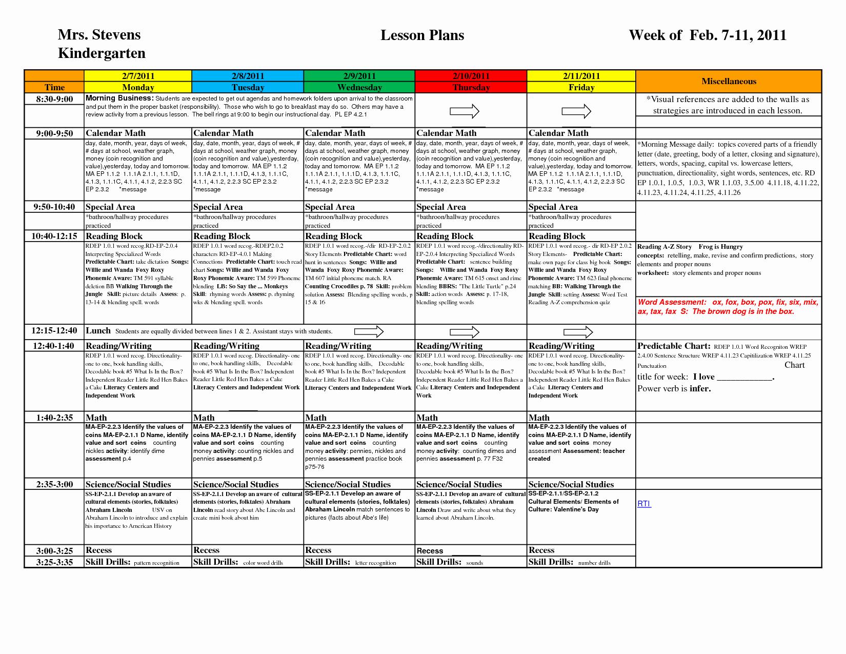 Pre Kindergarten Lesson Plan Template Luxury Kindergarten Lesson Plan Template