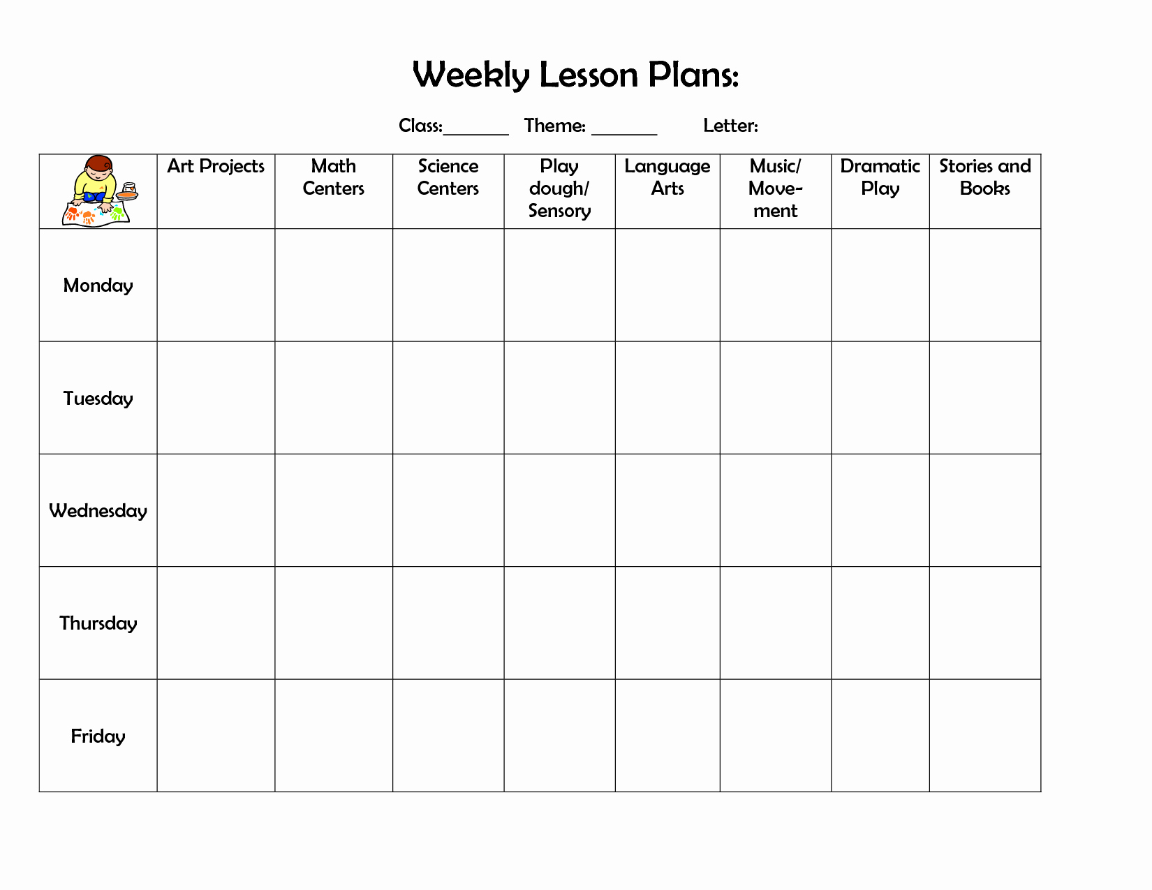 Prek Lesson Plan Templates Fresh Infant Blank Lesson Plan Sheets