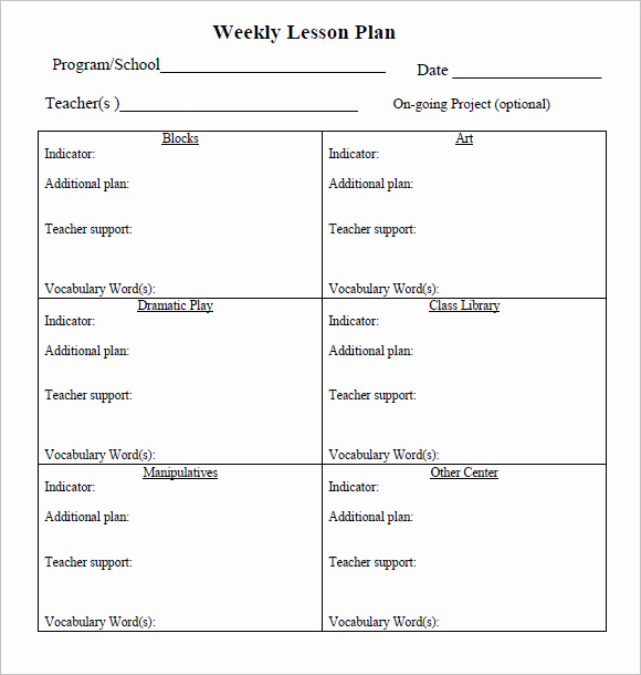 Prek Lesson Plan Templates Inspirational Sample Weekly Lesson Plan 8 Documents In Pdf Word