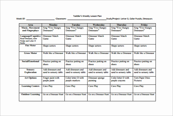 Prek Lesson Plan Templates Luxury Weekly Lesson Plan Template 9 Free Sample Example