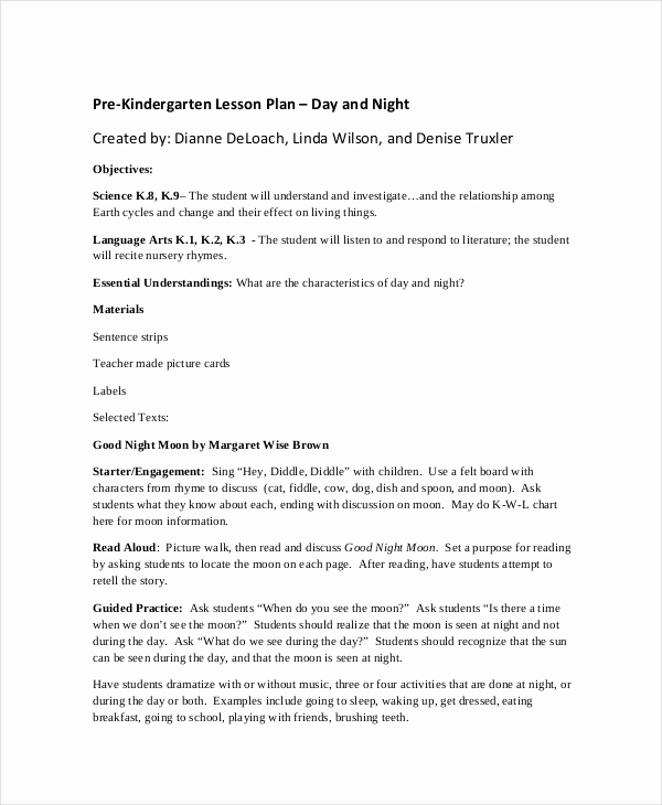 Prek Lesson Plan Templates Unique Preschool Lesson Plan Template 10 Free Word Pdf Psd