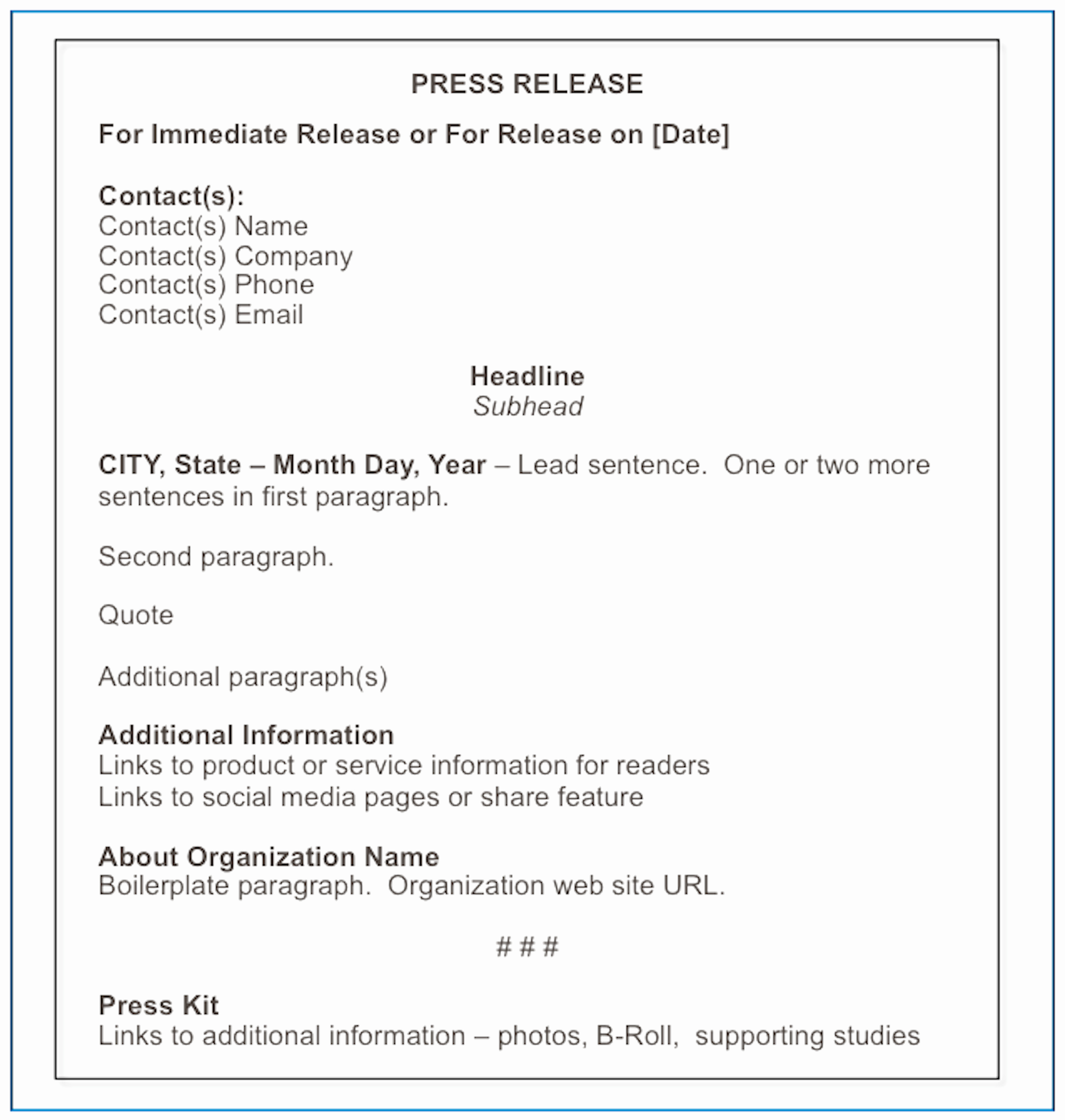 Press Release format Template Beautiful October 2014