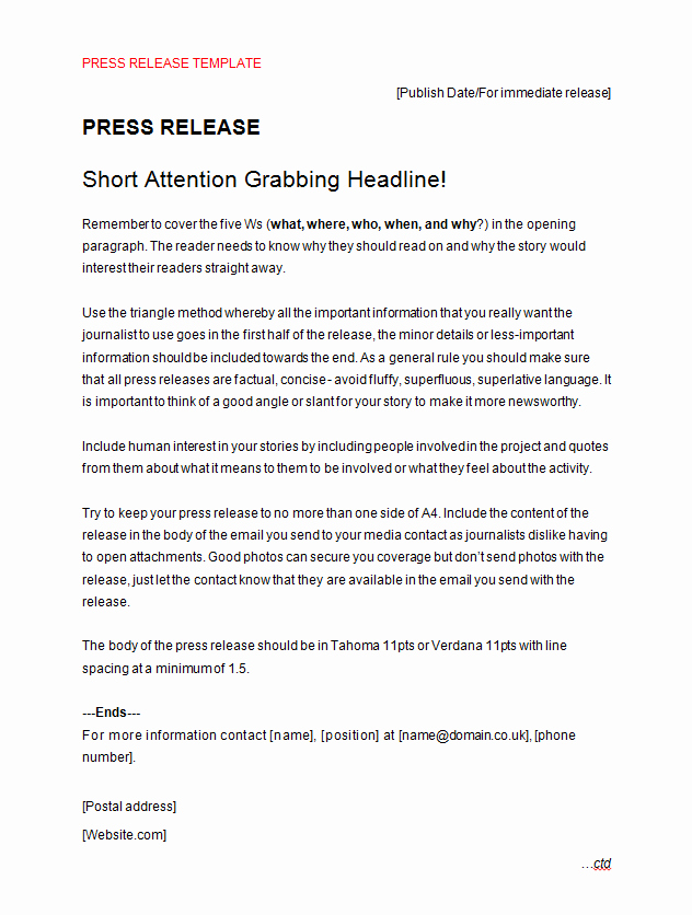 Press Release format Template Best Of Press Release Template