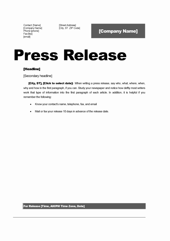 Press Release format Template Best Of top 5 Resources to Get Free Press Release Templates Word
