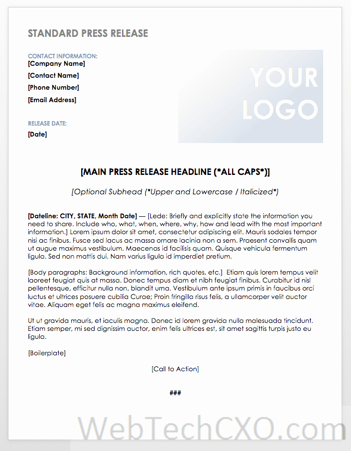 media relations public relations influencer marketing press release news release media release press statement