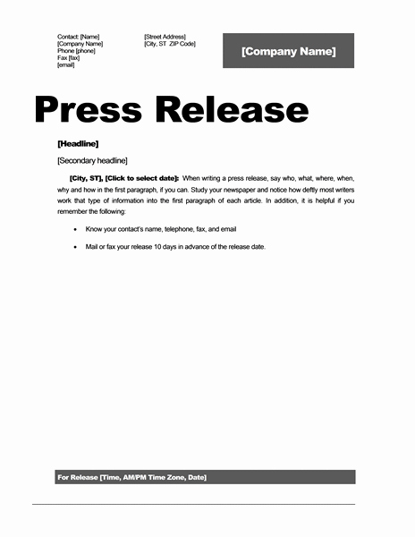 Press Release format Template Luxury Press Release Template 15 Free Samples Ms Word Docs