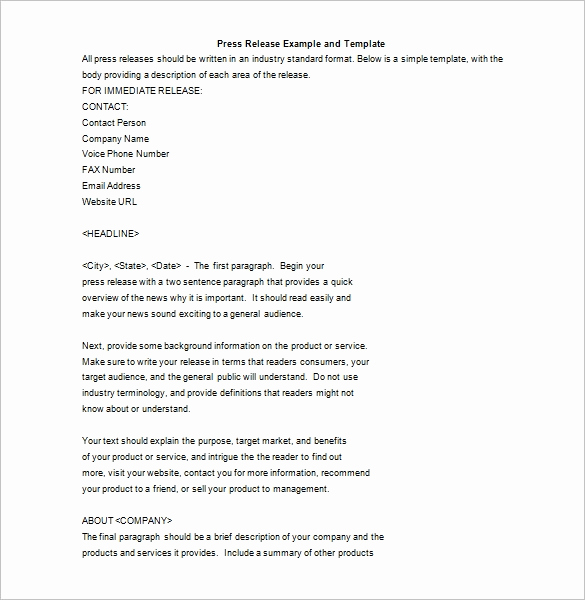 Press Release format Template New 28 Press Release Template Word Excel Pdf