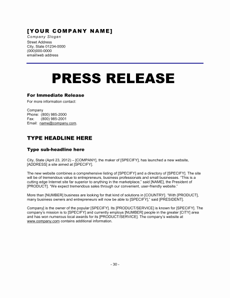 Press Release format Template New 6 Press Release Templates Excel Pdf formats