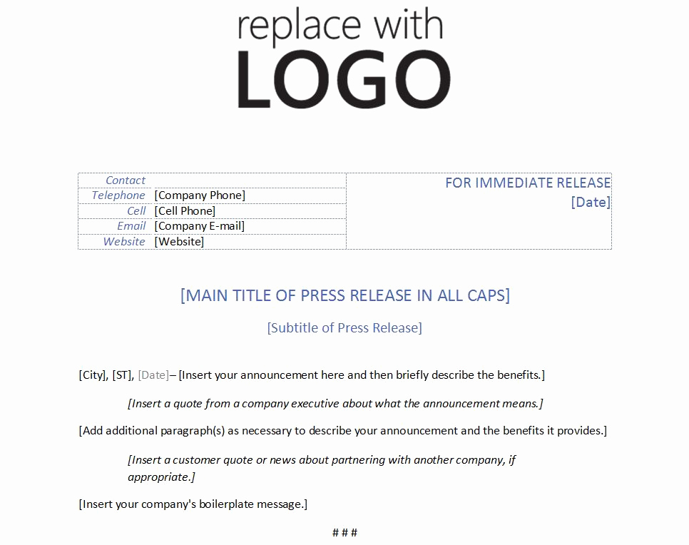 Press Release format Template New Template for Press Release
