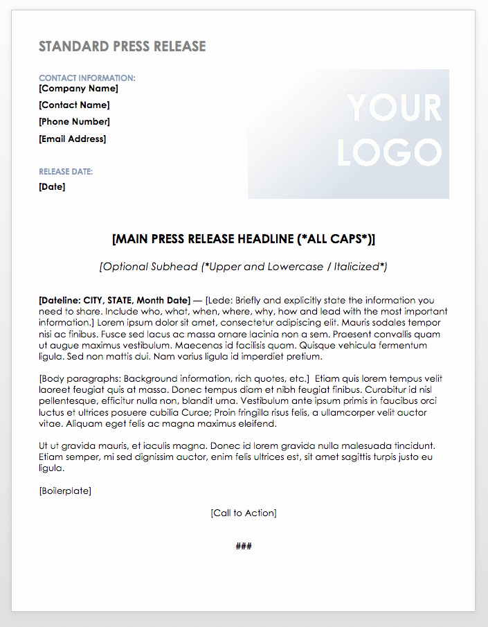 Press Release format Template Unique Free Press Release Templates