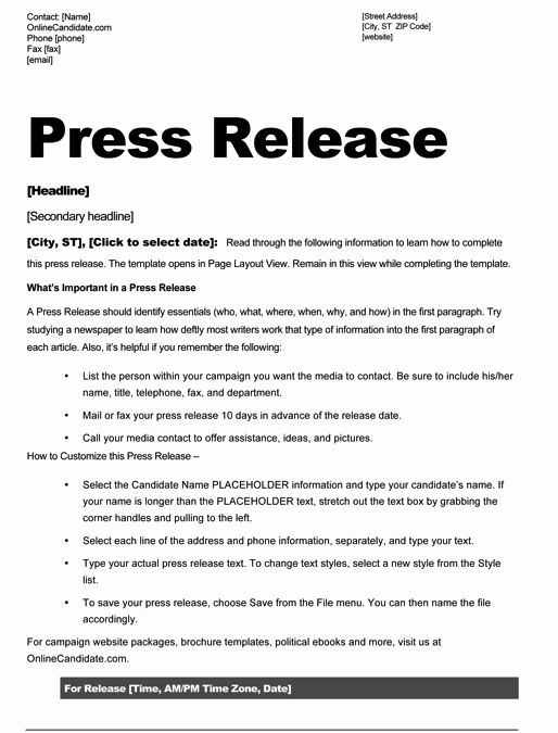 Press Release format Template Unique School Board Campaign Press Release Template Slate Blue
