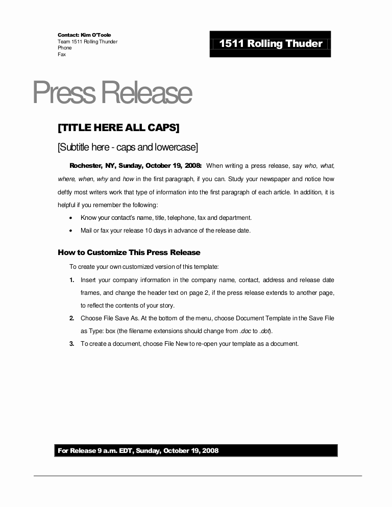Press Release Template Word Awesome Rolling Thunder Press Release Template