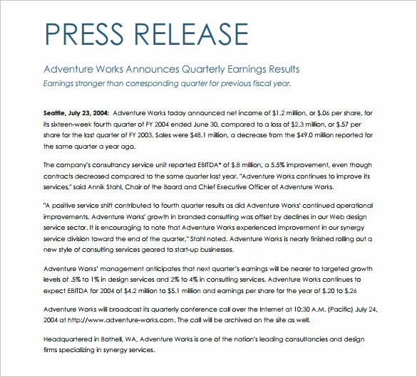 Press Release Template Word Fresh Press Release Template Word
