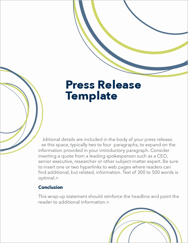 Press Release Template Word Lovely Sample Press Release Templates 7 Free Documents