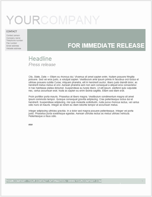 Press Release Template Word New Press Release Template 15 Free Samples Ms Word Docs