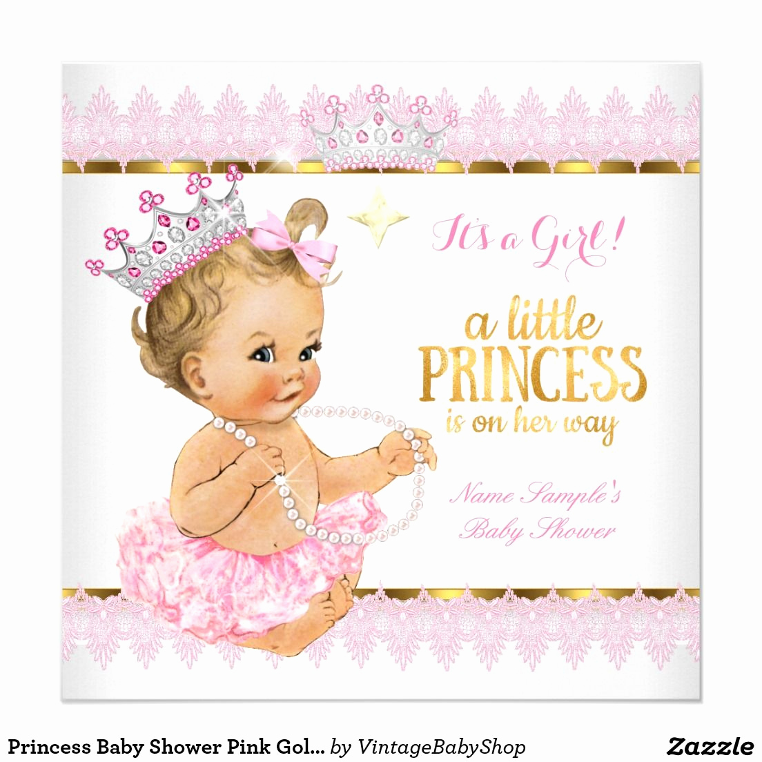 Princess Baby Shower Invitations Awesome Princess Baby Shower Pink Gold Blonde Girl Card