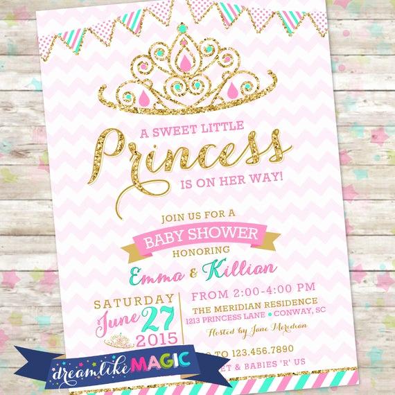 Princess Baby Shower Invitations Beautiful Princess Baby Shower Invitation Royal Princess Invite Pink