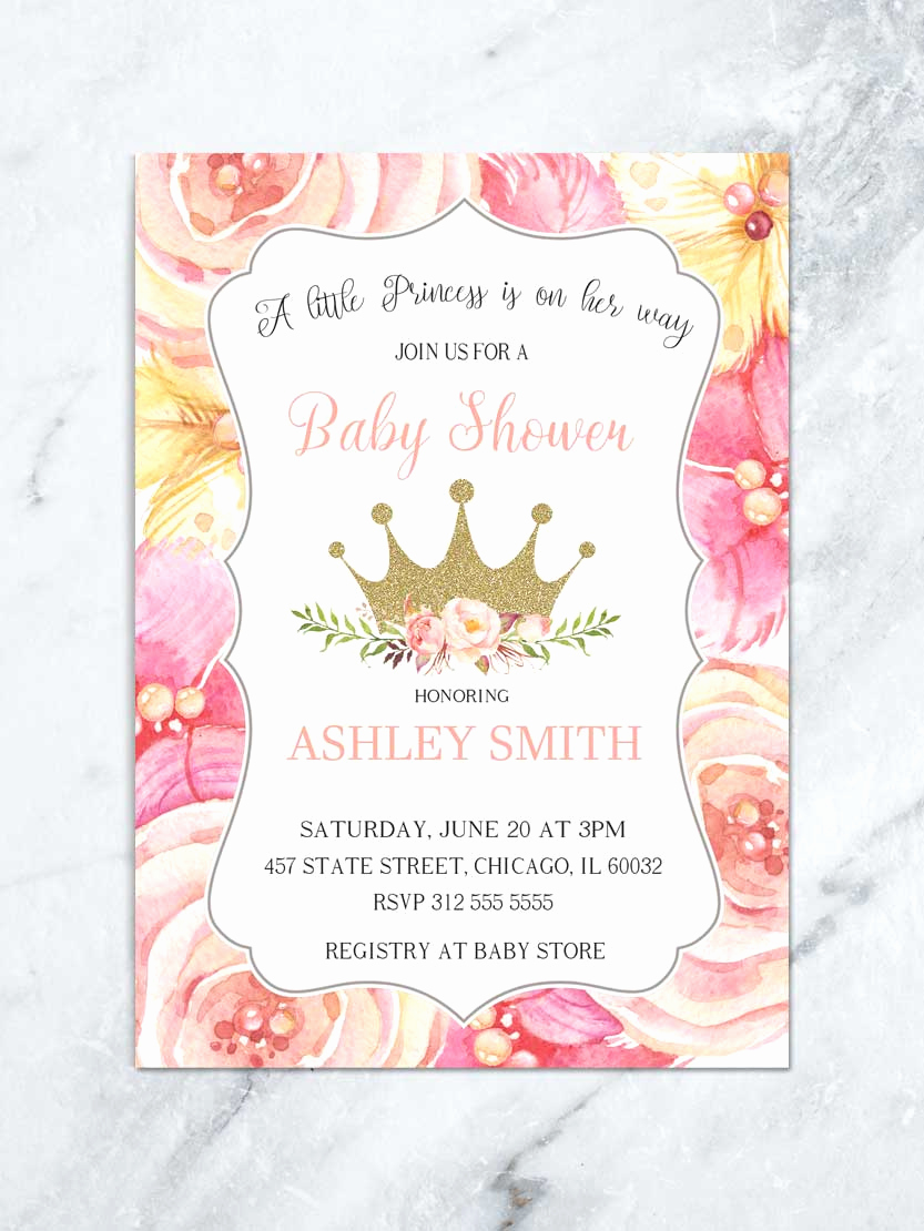 Princess Baby Shower Invitations Beautiful Princess Shower Invitations