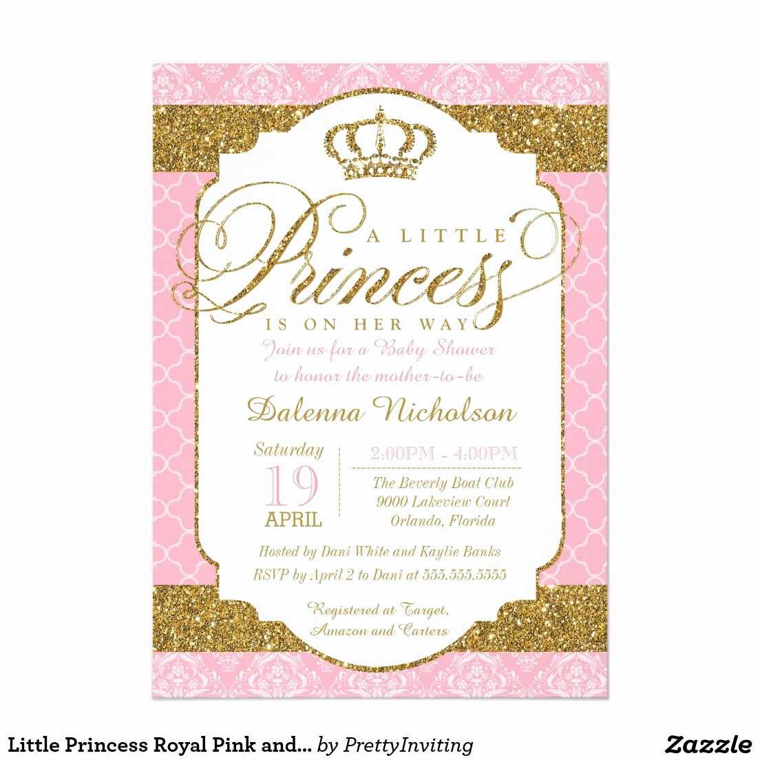 Princess Baby Shower Invitations Best Of Little Princess Royal Pink and Gold Baby Shower 5x7 Paper