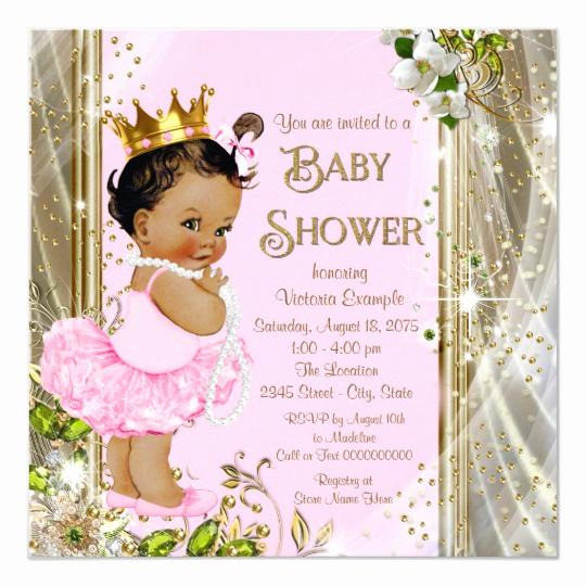Princess Baby Shower Invitations Elegant Ethnic Princess Tutu Pink Gold Baby Shower Invitation