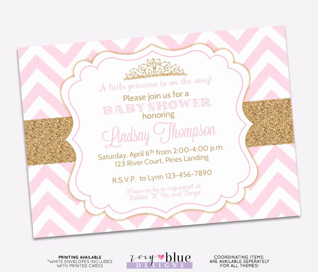 Princess Baby Shower Invitations Elegant Princess Baby Shower Invitation Pink Chevron Gold Glitter