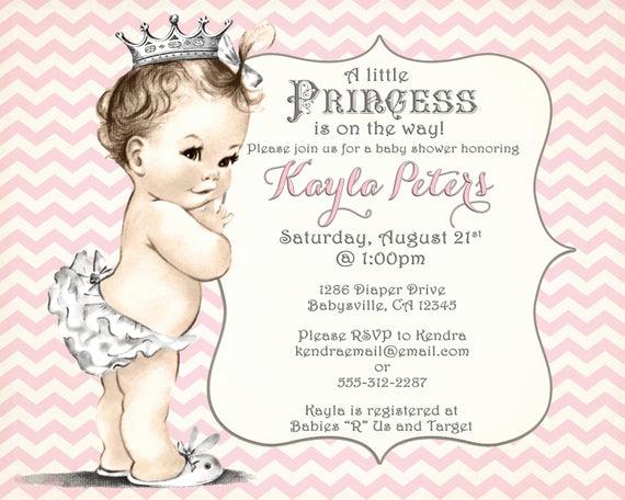 Princess Baby Shower Invitations Fresh Girl Baby Shower Invitation Chevron Princess for Girl Pink