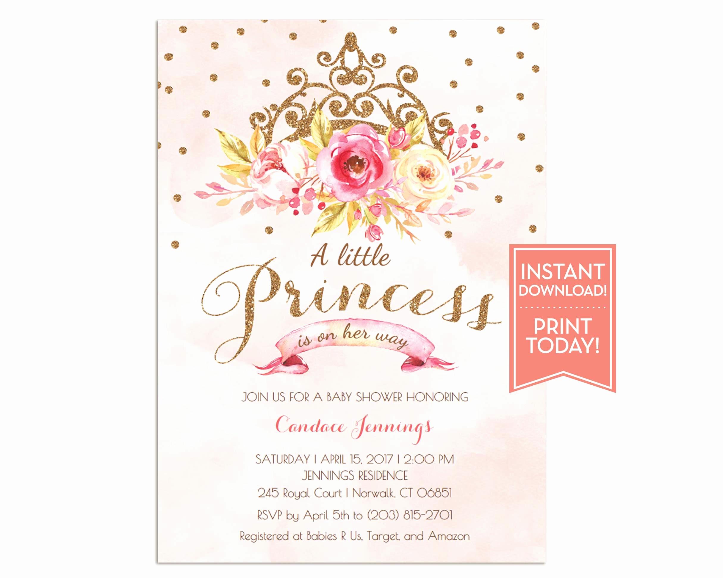 Princess Baby Shower Invitations Lovely Little Princess Baby Shower Invitation Pink Princess Baby