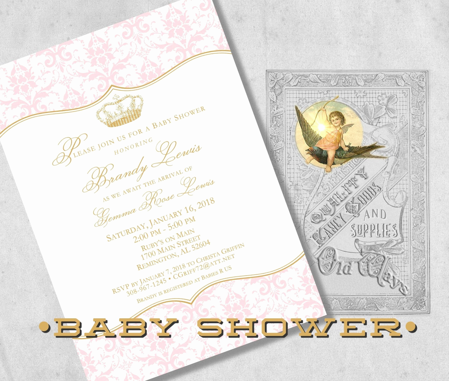 Princess Baby Shower Invitations Lovely Printed Royal Princess Baby Shower Invitations Elegant