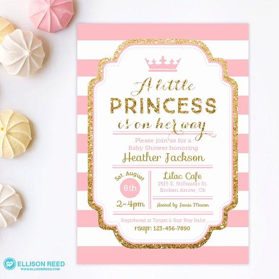 Princess Baby Shower Invitations Luxury Princess Baby Shower Invitation Pink and Gold Baby