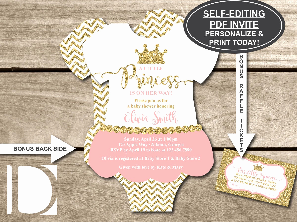 Princess Baby Shower Invitations New Little Princess Baby Shower Invitation Esie Invitation