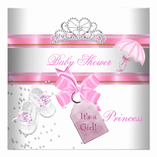 Princess Baby Shower Invitations Unique Baby Shower Girl White Pink Princess Tiara Magical