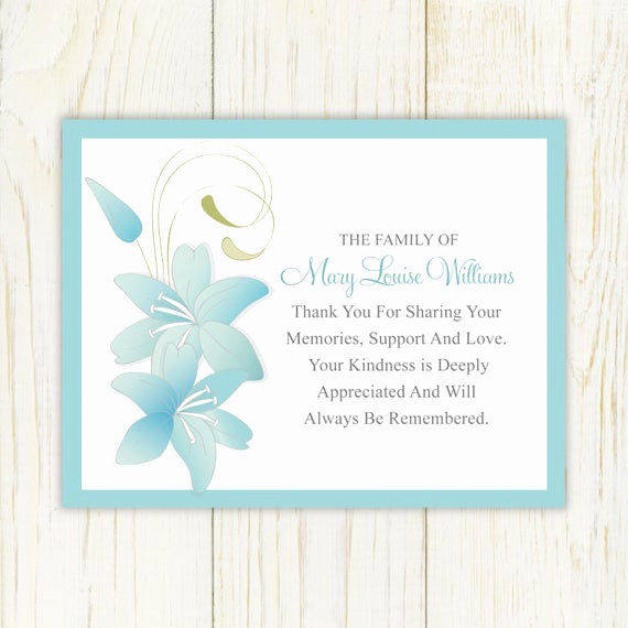 Print Out Sympathy Card Best Of Lily Funeral Thank You Card Printable Digital File Sympathy