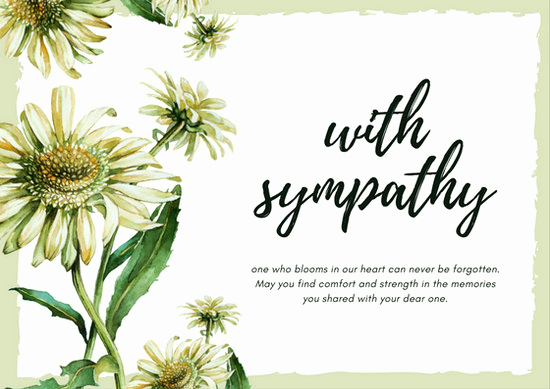 Print Out Sympathy Cards Awesome Light Green Daisy Flower Sympathy Card Templates by Canva